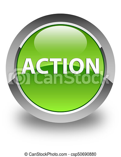 Action glossy green round button - csp50690880