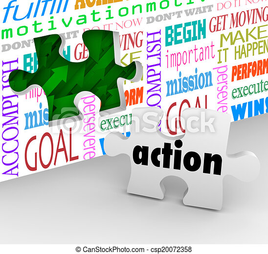 Action is the final piece of the puzzle needed to complete change, innovation and success in motion to solve a problem - csp20072358