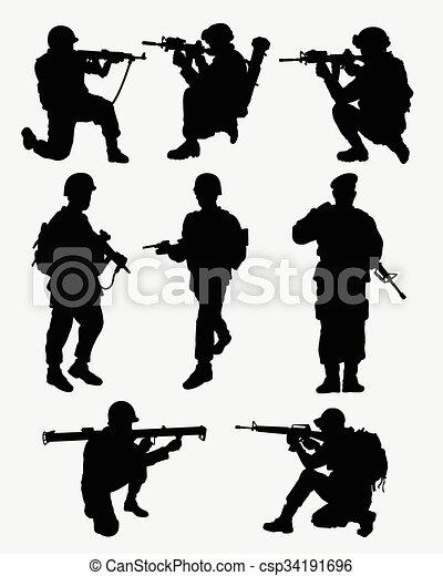 Action Militaire Silhouettes Armée