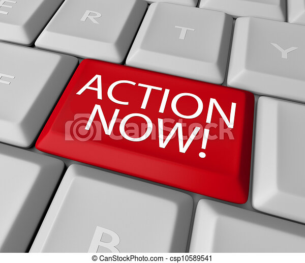 Action Now Computer Key Demanding Urgent Act - csp10589541