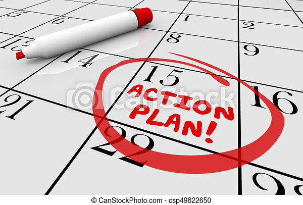 Action Plan Calendar Day Date Schedule 3d Illustration - csp49822650