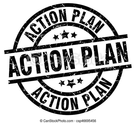 Action Plan Round Grunge Black Stamp