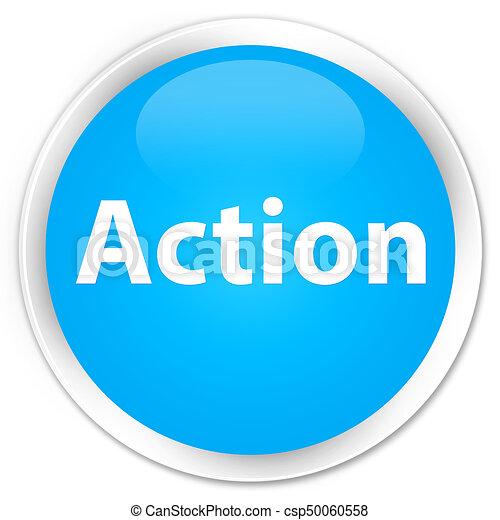 Action premium cyan blue round button - csp50060558