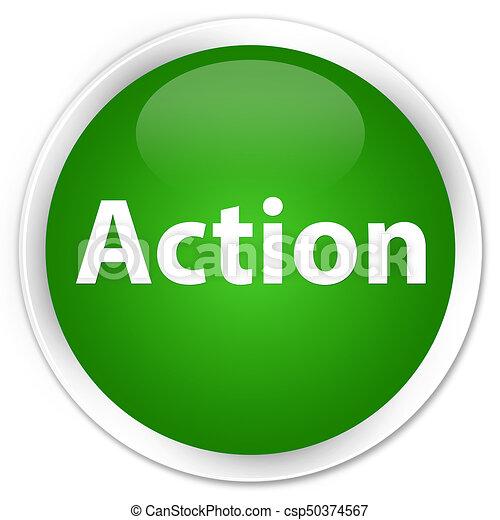 Action premium green round button - csp50374567