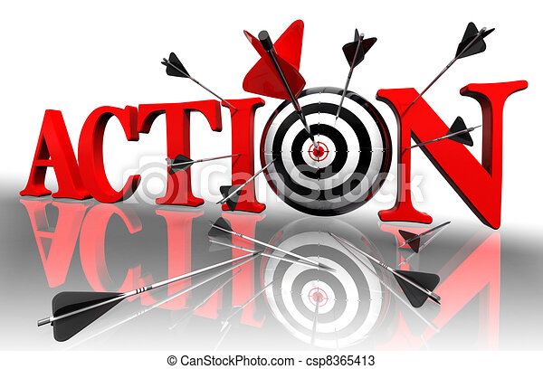 Action Red Word And Conceptual Target With Arrow On White