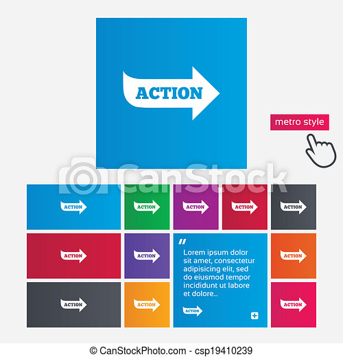 Action sign icon. Motivation button with arrow. - csp19410239