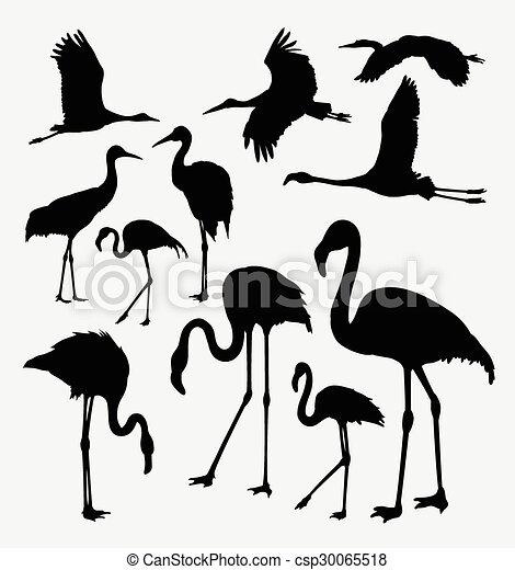 Action Silhouettes Flamant Rose