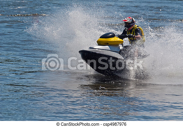 action, ski, jet - csp4987976
