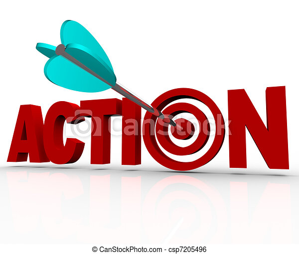 Action Target Bulls-Eye Word Urgent Need to Act Now - csp7205496