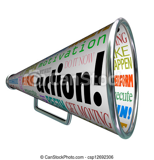 Action Words Bullhorn Megaphone Motivation Mission - csp12692306