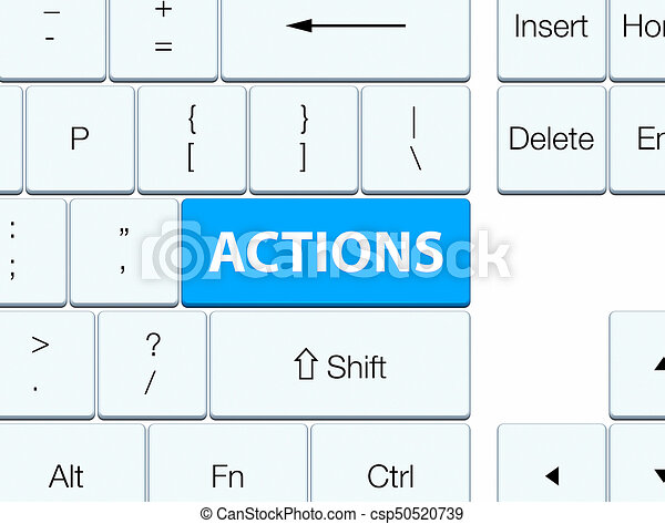 Actions cyan blue keyboard button - csp50520739