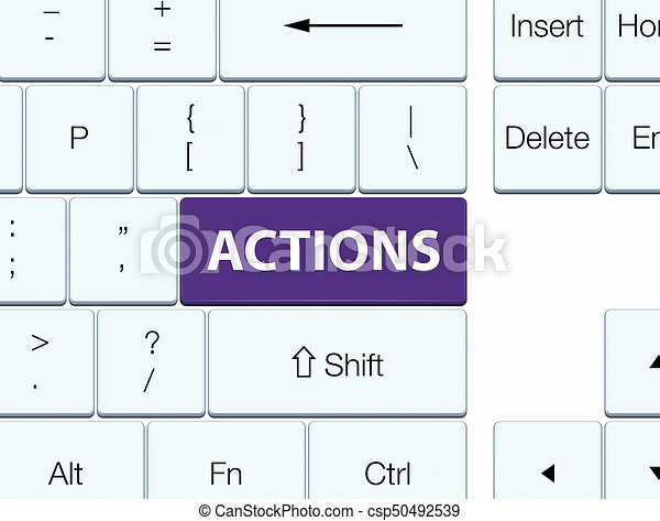 Actions purple keyboard button - csp50492539
