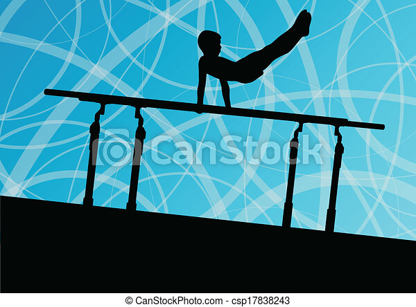 Active children sport silhouette on parallel bars vector abstract background illustration for poster - csp17838243