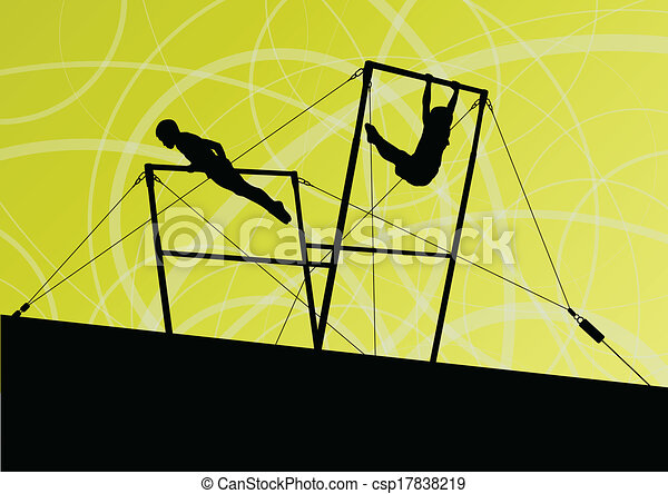 Active children sport silhouettes on uneven bars vector abstract background illustration for poster - csp17838219