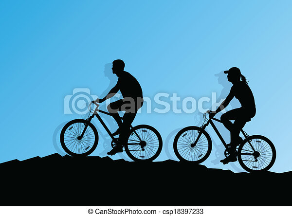 Active cyclist bicycle rider background illustration vector - csp18397233