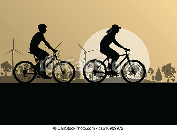 Active cyclists bicycle riders in countryside nature landscape background illustration vector - csp16989972