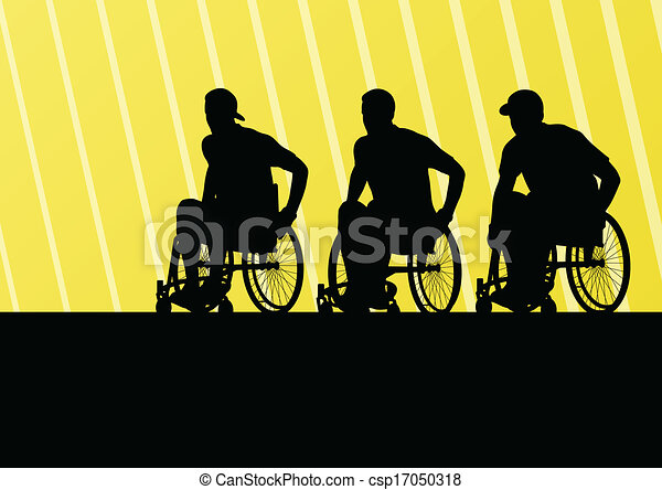 Active disabled man on a wheelchair detailed sport concept silhouette illustration background vector - csp17050318