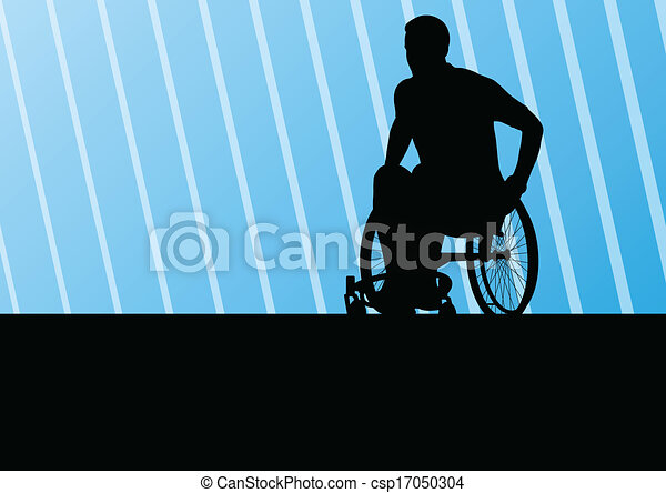 Active disabled man on a wheelchair detailed sport concept silhouette illustration background vector - csp17050304