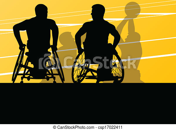 Active disabled men basketball players in a wheelchair detailed sport concept silhouette illustration background vector - csp17022411