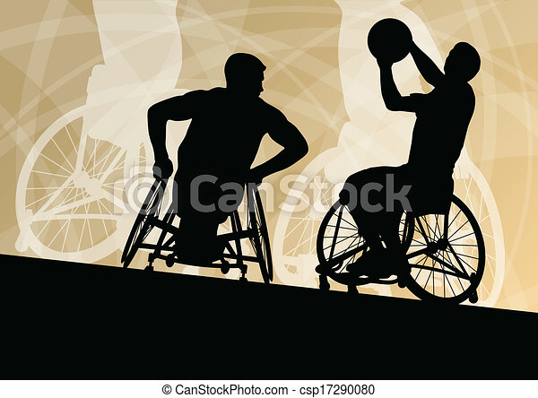 Active disabled young men basketball players in a wheelchair detailed sport concept silhouette illustration background vector - csp17290080