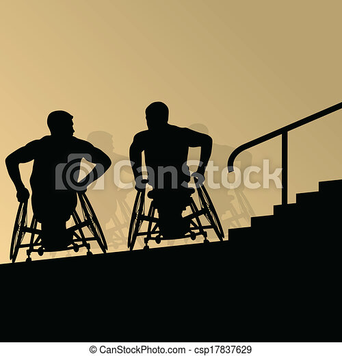 Active disabled young men on a wheelchair detailed health care stair steps concept silhouette illustration background vector - csp17837629