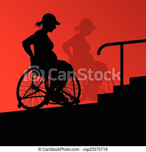 Active disabled young pregnant women in a wheelchair detailed he - csp23375719