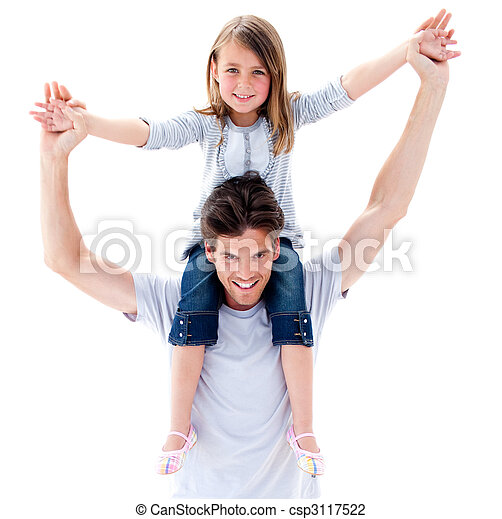 Active father giving his daughter a piggyback ride - csp3117522
