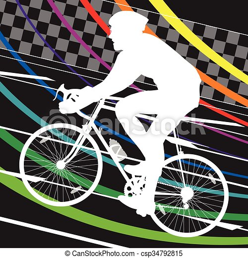 Active healthy men cyclists bicycle riders in abstract sport landscape background illustration - csp34792815