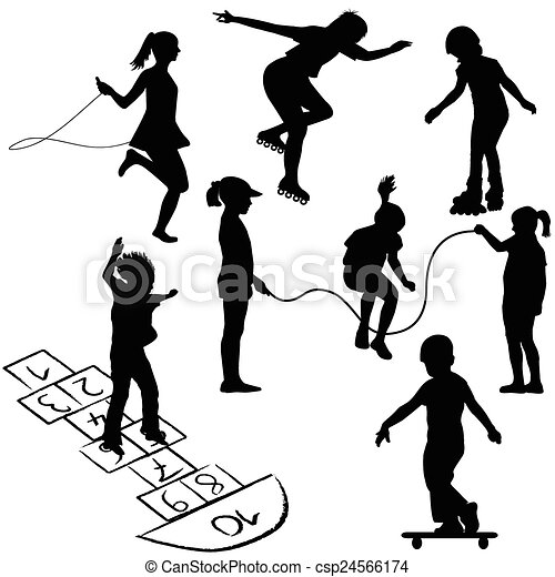 Active kids. Children on roller skates, jumping rope or playing on the hopscotch - csp24566174