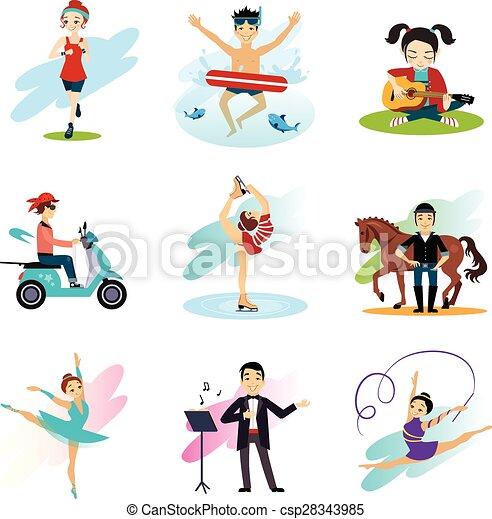 Active lifestyle, Hobbies, Healthy Lifestyle Set  - csp28343985