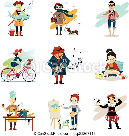 Active Lifestyle, Hobbies, Healthy Lifestyle Icons Set  - csp28267118
