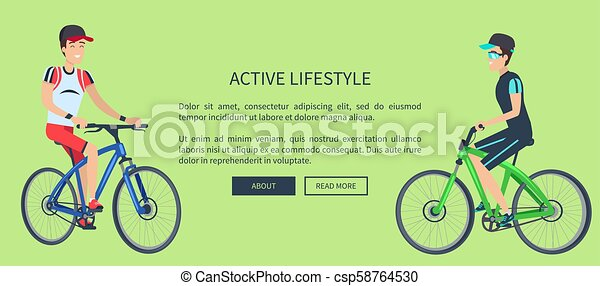 Active Lifestyle Sport Card Vector Illustration - csp58764530
