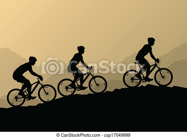 Active men cyclists bicycle riders in wild mountain nature landscape background illustration vector - csp17049999