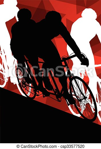 Active men cyclists bicycle riders in abstract sport landscape background illustration - csp33577520