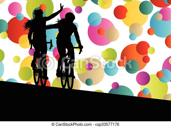 Active men cyclists bicycle riders in abstract sport landscape background illustration - csp33577176
