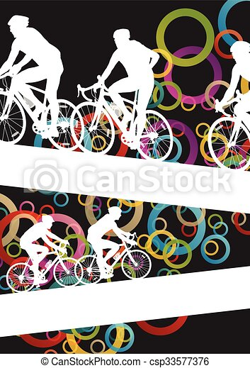 Active men cyclists bicycle riders in abstract sport landscape background illustration - csp33577376