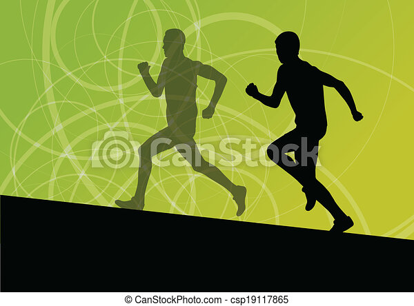 Active men runner sport athletics running silhouettes illustration background vector - csp19117865