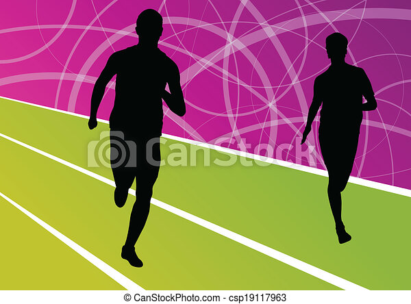 Active men runner sport athletics running silhouettes illustration background vector - csp19117963