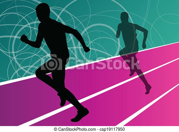 Active men runner sport athletics running silhouettes illustration background vector - csp19117950