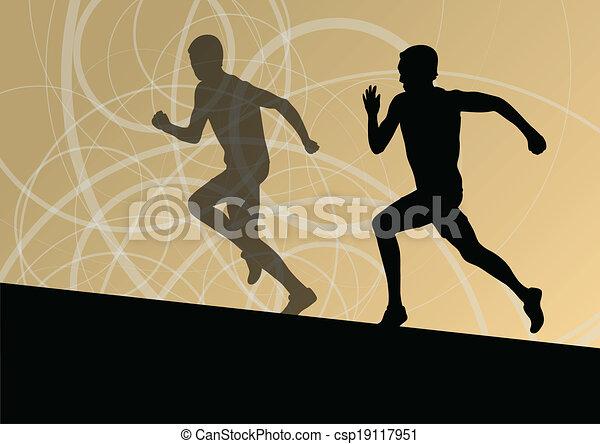 Active men runner sport athletics running silhouettes illustration background vector - csp19117951