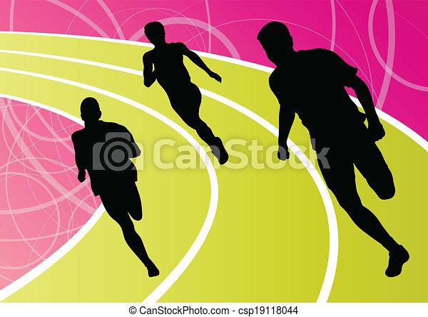 Active men runner sport athletics running silhouettes illustration background vector - csp19118044