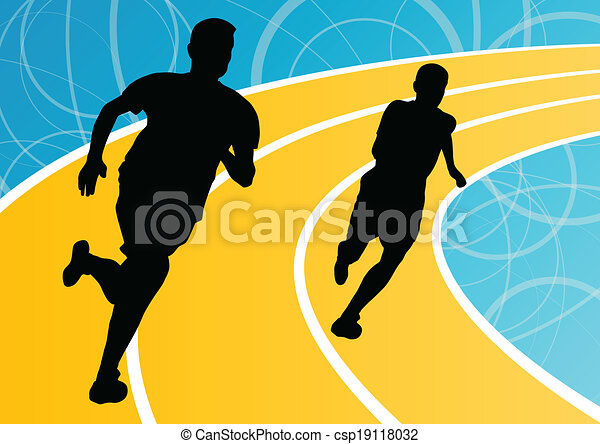 Active men runner sport athletics running silhouettes illustration background vector - csp19118032