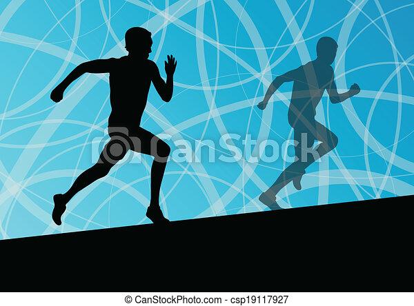 Active men runner sport athletics running silhouettes illustration background vector - csp19117927