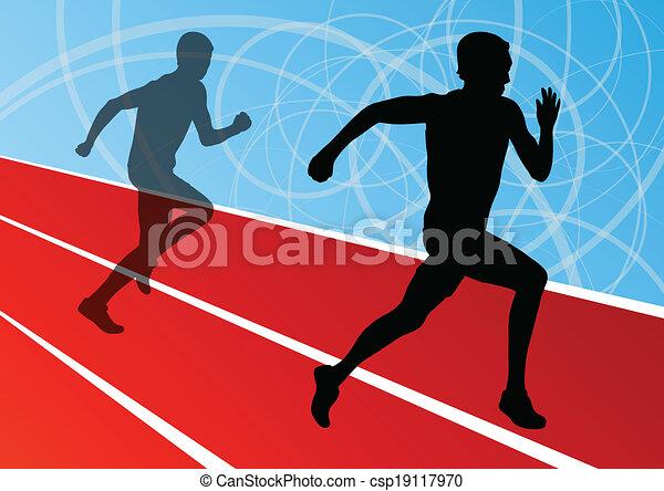 Active men runner sport athletics running silhouettes illustration background vector - csp19117970