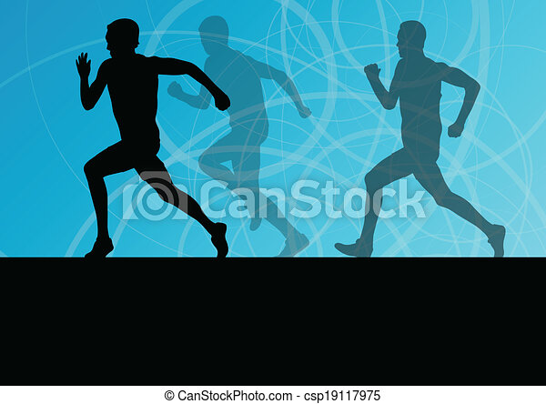 Active men runner sport athletics running silhouettes illustration background vector - csp19117975