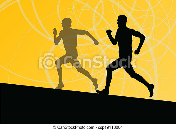 Active men runner sport athletics running silhouettes illustration background vector - csp19118004