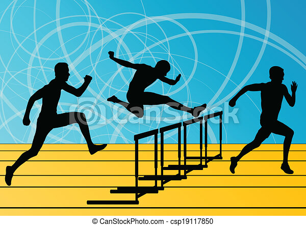 Active men sport athletics hurdles barrier running silhouettes illustration collection background vector - csp19117850