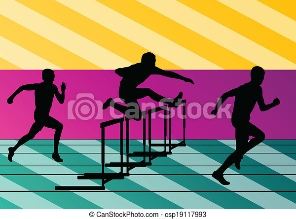 Active men sport athletics hurdles barrier running silhouettes illustration collection background vector - csp19117993