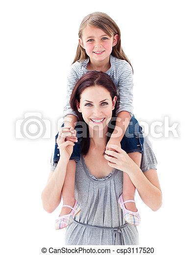 Active mother giving her daughter piggyback - csp3117520