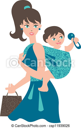 Active mother with baby in a sling  - csp11939026